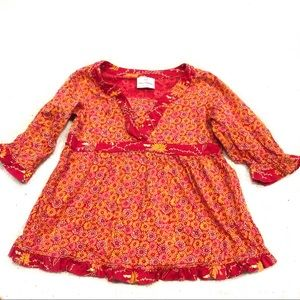 Hanna Anderson Long Sleeve Orange Red Floral Dress